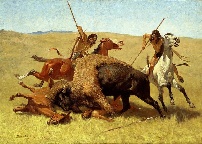 Frederic Remington Greeting Card featuring the painting The Buffalo Hunt by Frederic Remington