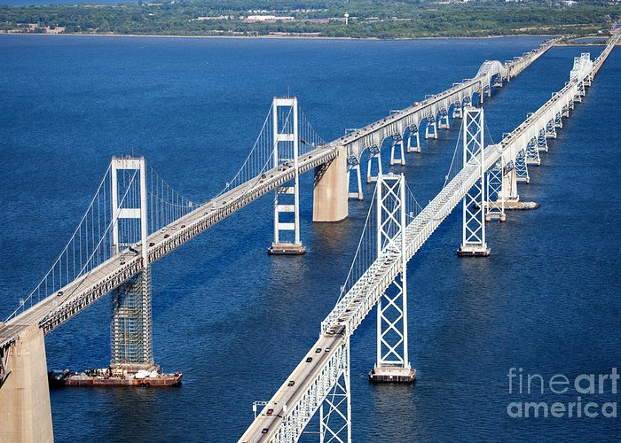 William Preston Lane Greeting Card featuring the photograph The Chesapeake Bay Bridge by Bill Cobb