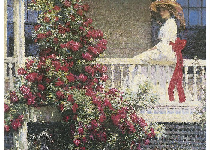 Philip Leslie Hale Greeting Card featuring the painting The Crimson Rambler by Philip Leslie Hale