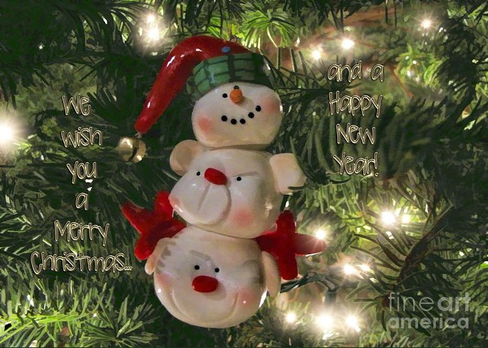 Greeting Card Greeting Card featuring the photograph The Happy Snowman by Peggy Hughes