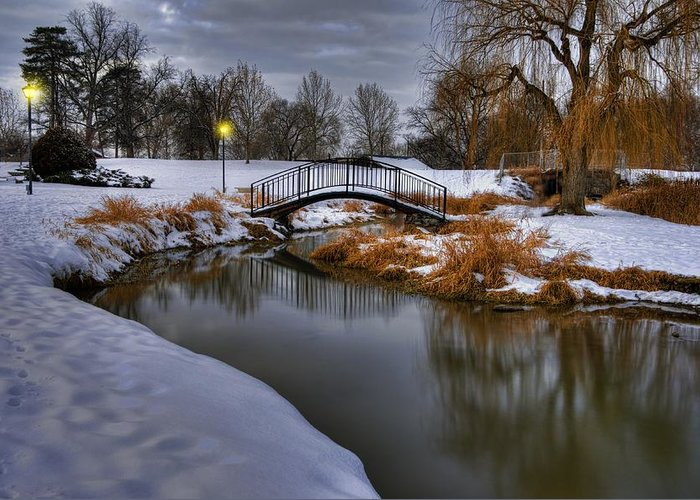 Snow Greeting Card featuring the photograph The Lonely Bridge by Kris Franklin