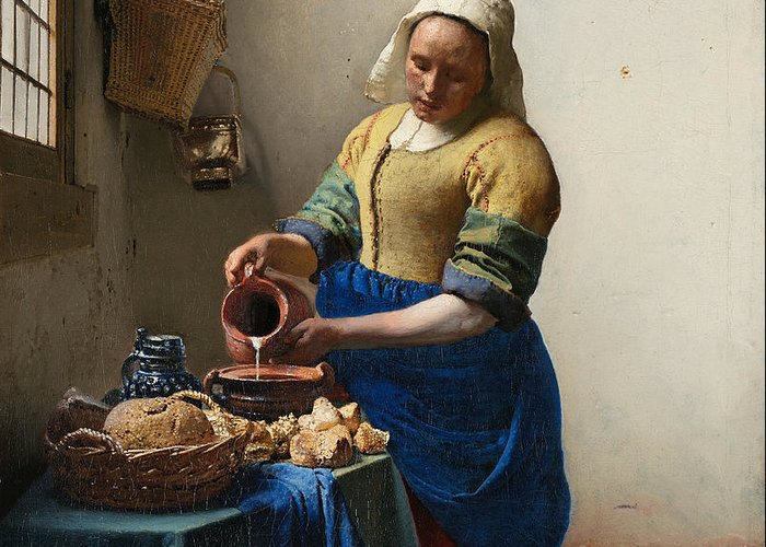 Jan Vermeer Greeting Card featuring the painting The Milkmaid by Johannes Vermeer