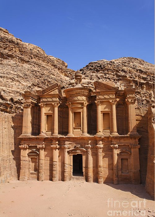 Petra Greeting Card featuring the photograph The Monastery Sculpted Out Of The Rock At Petra In Jordan by Robert Preston