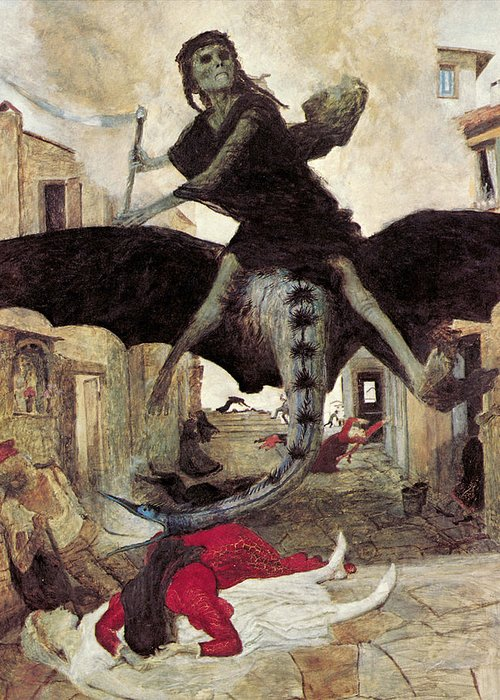 The Plague Greeting Card featuring the digital art The Plague by Arnold Bocklin