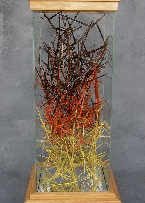 Thorns Greeting Card featuring the sculpture The Point Is Transition by Lonnie C Tapia