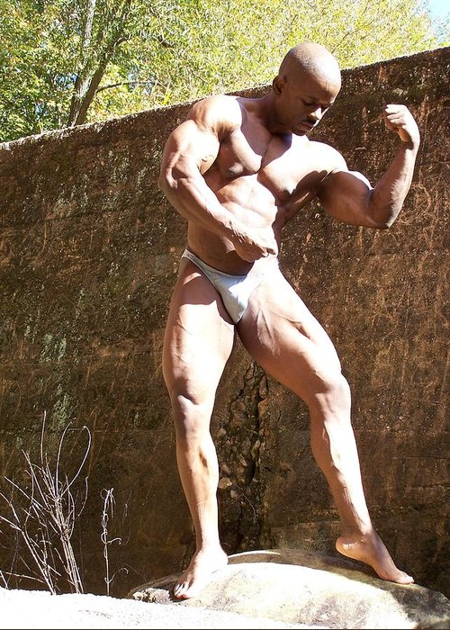 Muscle Greeting Card featuring the photograph The Pose by Jake Hartz