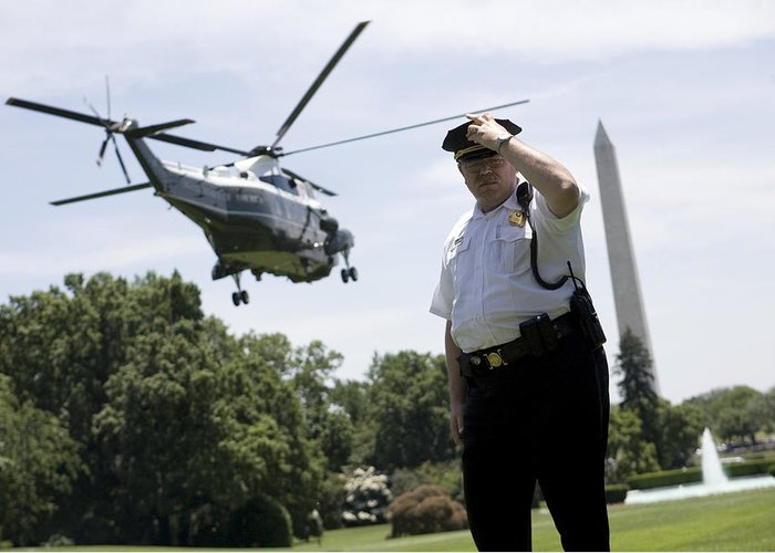 Barack Obama Greeting Card featuring the photograph Marine One by JP Tripp