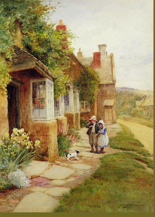 Village Greeting Card featuring the painting The Puppy by Arthur Claude Strachan