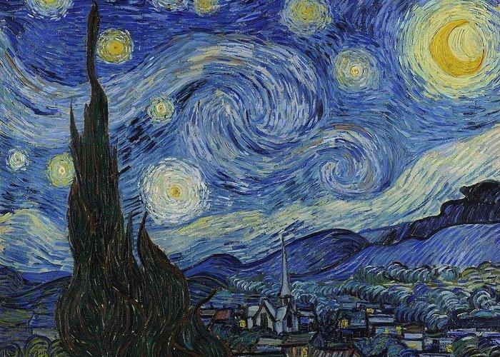 Vincent Van Gogh Starry Night Greeting Card featuring the painting The Starry Night by Vincent Van Gogh