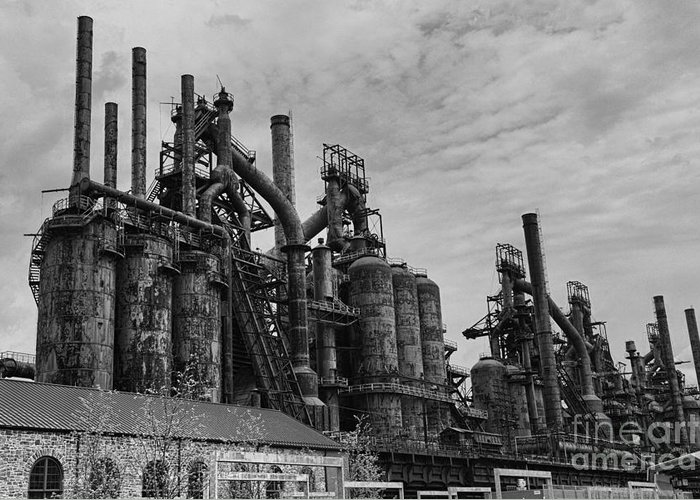 Paul Ward Greeting Card featuring the photograph The Steel Mill In Black And White by Paul Ward