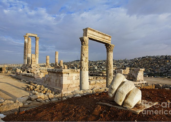 Amman Greeting Card featuring the photograph The Temple Of Hercules And Sculpture Of A Hand In The Citadel Amman Jordan by Robert Preston