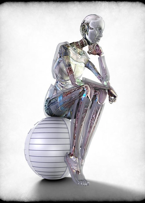 Robot Greeting Card featuring the digital art The Thinking Machine by Frederico Borges