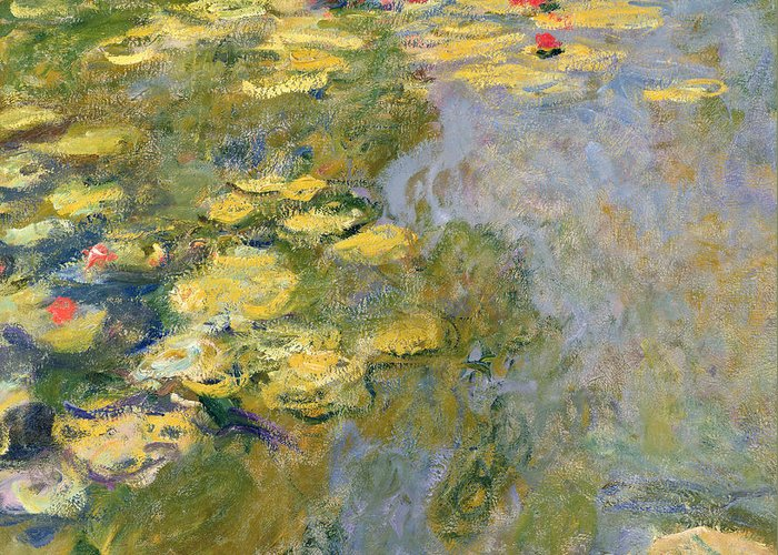 Impressionist Greeting Card featuring the painting The Waterlily Pond by Claude Monet