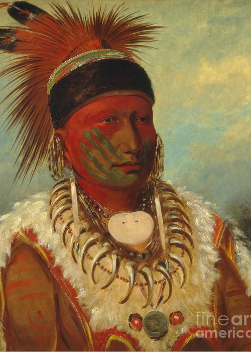 Mo; Hos; Ka; Tribe; Native American Indian; Feathered; Headdress; Feathers; Tattoo; Tattoos; Tribal Markings; Marking; Leader; Chieftain; Iowa; Male; Portrait; Bone Necklace; Tusks; Teeth; Animal Skin; Costume; Traditional; Dress Greeting Card featuring the painting The White Cloud Head Chief of the Iowas by George Catlin