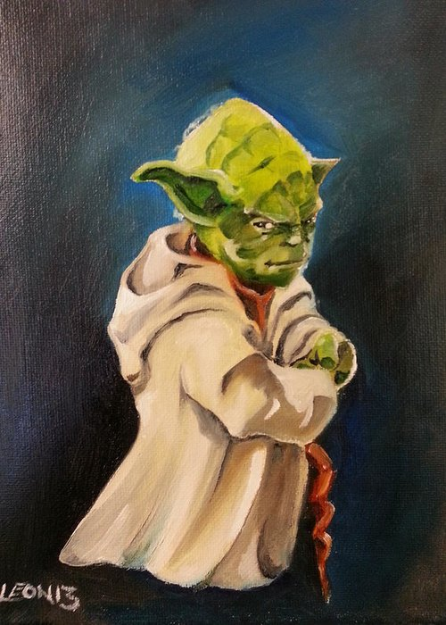 Yoda Greeting Card featuring the painting There Is No Try by Chris Leon