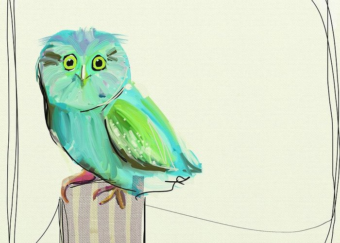 Owl Greeting Card featuring the painting This Little Guy by Cathy Walters
