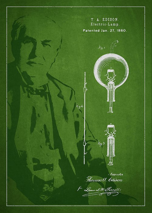 Thomas Edison Greeting Card featuring the drawing Thomas Edison Electric Lamp Patent Drawing From 1880 by Aged Pixel