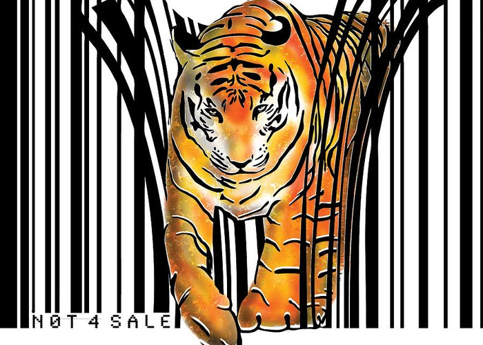Tiger Greeting Card featuring the digital art Tiger barcode by Sassan Filsoof