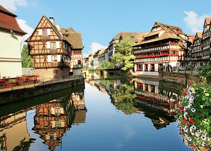 Accommodation Greeting Card featuring the photograph Timbered Buildings, La Petite France by Miva Stock