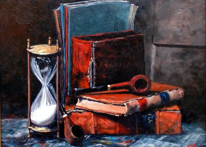 Still Life Greeting Card featuring the painting Time and Old Friends by Jim Gola
