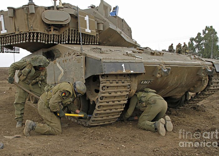 Battletank Greeting Card featuring the photograph Track Replacement On A Israel Defense by Ofer Zidon