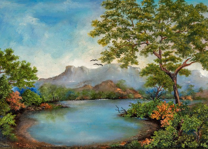 Dawn Broom Greeting Card featuring the painting Tranquility by Dawn Broom