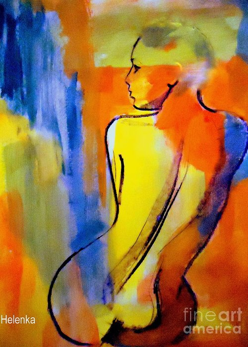 Nude Figures Greeting Card featuring the painting Tranquility by Helena Wierzbicki