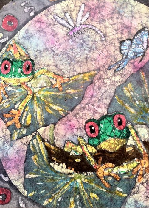 Batik Greeting Card featuring the painting Tree Frogs by Jill Tsikerdanos