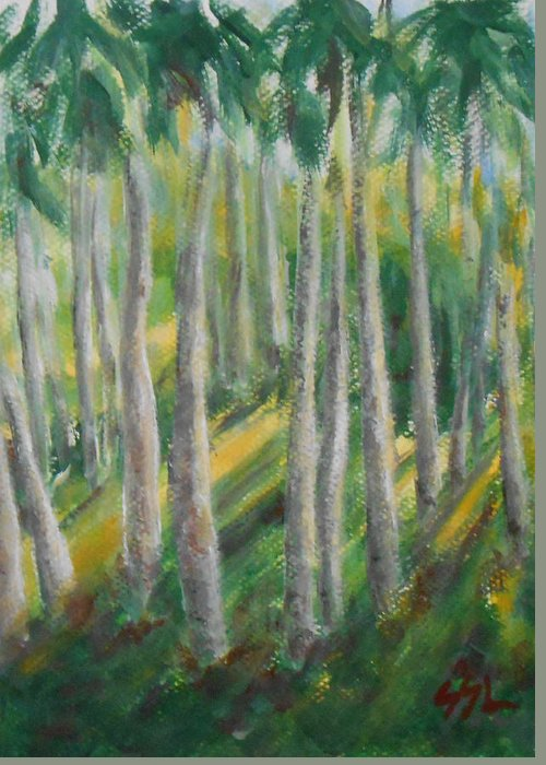 Landscape Greeting Card featuring the painting Tropical by Jane See