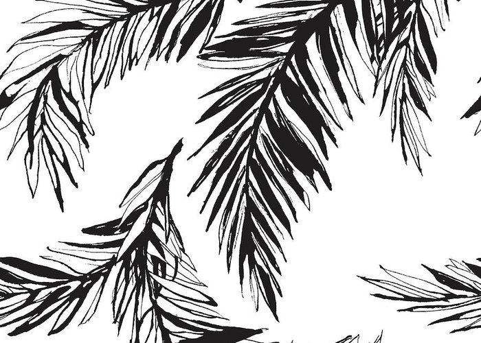 Tropical Rainforest Greeting Card featuring the digital art Tropical Jungle Floral Seamless by Sv sunny