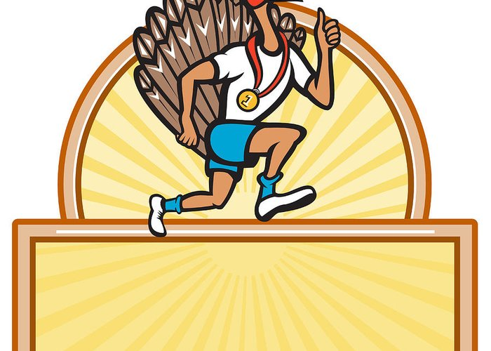 Turkey Greeting Card featuring the digital art Turkey Run Runner Side Cartoon Isolated by Aloysius Patrimonio