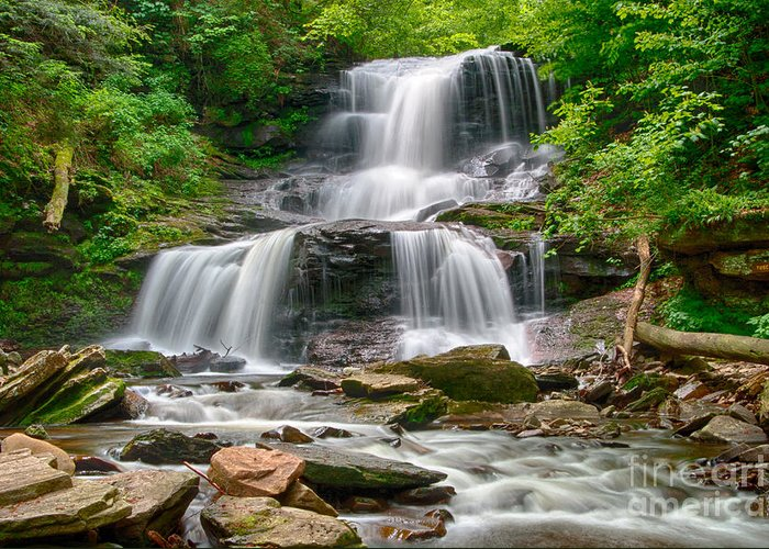 Ricketts Glen Greeting Card featuring the photograph Tuscarora Falls by Eric Gaston