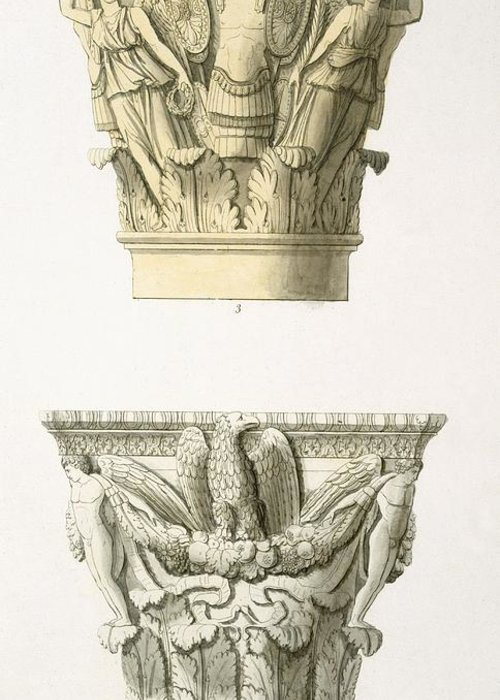 Architecture Greeting Card featuring the drawing Two Column Capitals by .