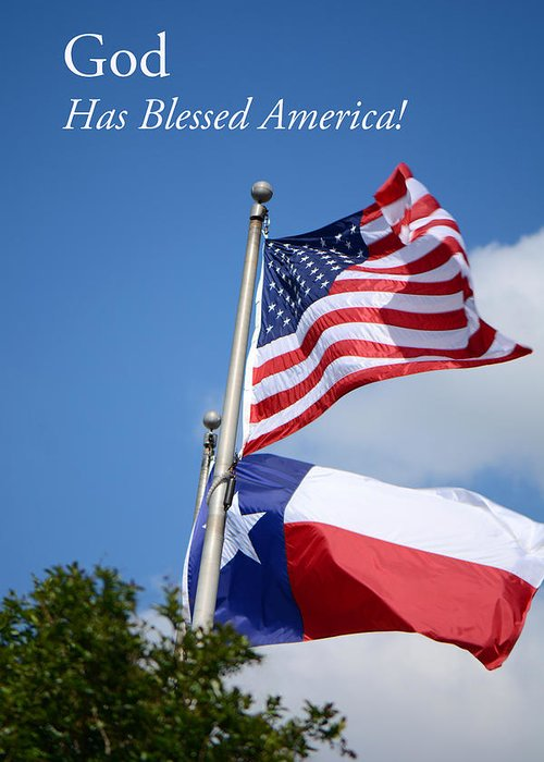 American Flag Greeting Card featuring the photograph God Has Blessed America by Connie Fox