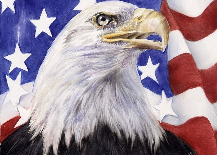 Eagle Greeting Card featuring the painting United We Stand? by Summer Celeste