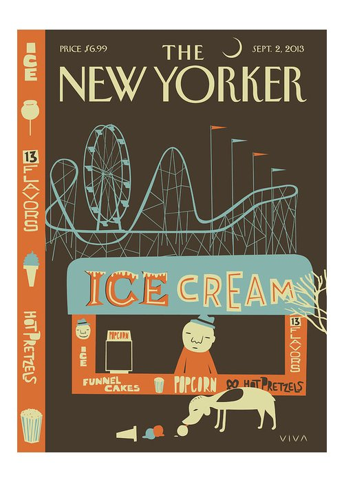 Amusement Park Greeting Card featuring the painting New Yorker September 2nd, 2013 by Frank Viva