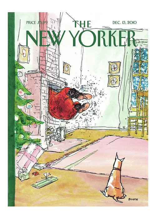 Holiday Greeting Card featuring the painting New Yorker December 13th, 2010 by George Booth