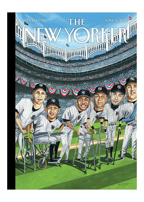 Yankees Greeting Card featuring the painting New Yorker April 8th, 2013 by Mark Ulriksen