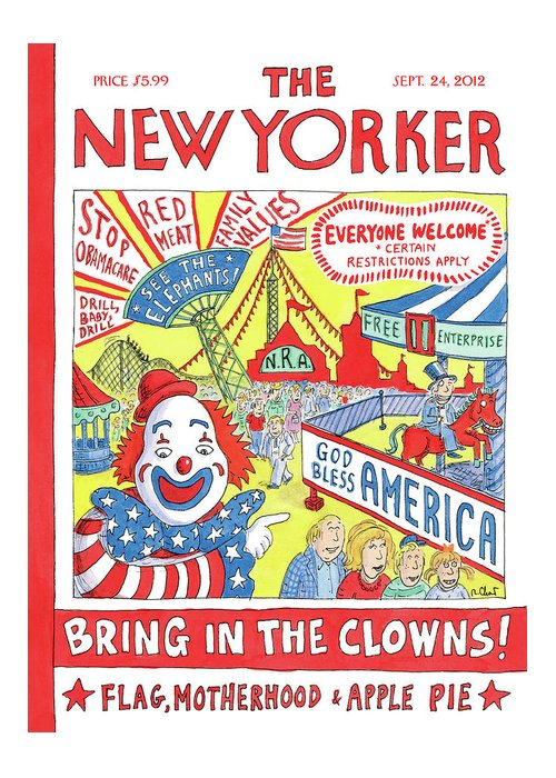 Politics Greeting Card featuring the painting New Yorker September 24th, 2012 by Roz Chast