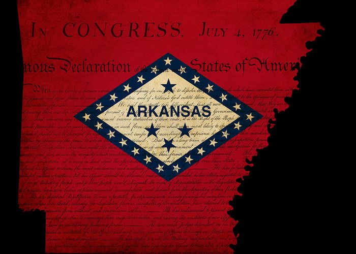 Usa Greeting Card featuring the photograph Usa American Arkansas State Map Outline With Grunge Effect Flag by Matthew Gibson