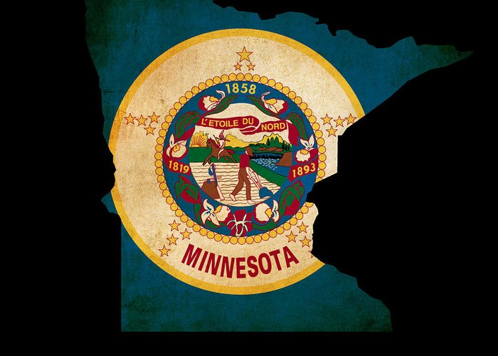 Map Greeting Card featuring the photograph Usa American Minnesota State Map Outline With Grunge Effect Flag by Matthew Gibson