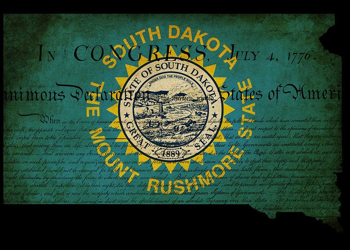 Map Greeting Card featuring the photograph Usa American South Dakota State Map Outline With Grunge Effect F by Matthew Gibson