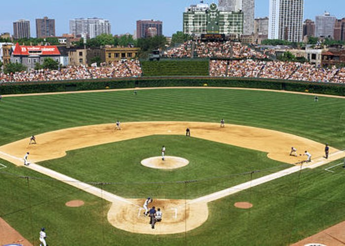 Photography Greeting Card featuring the photograph Usa, Illinois, Chicago, Cubs, Baseball by Panoramic Images