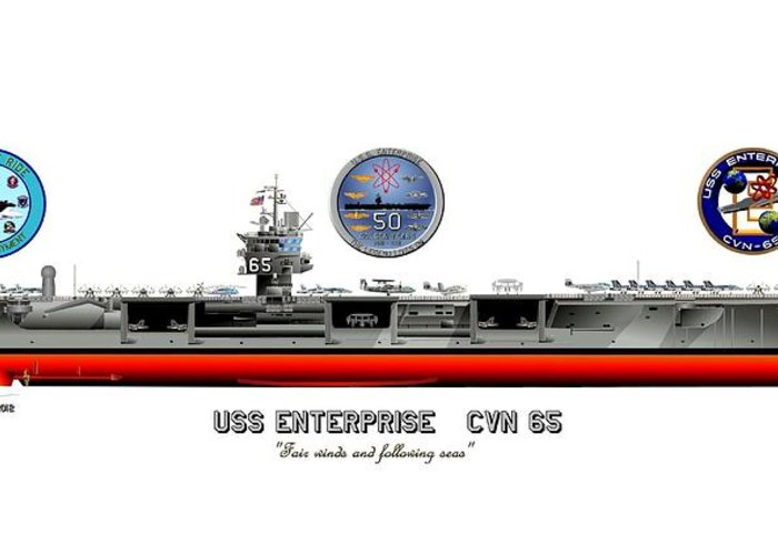 Uss Enterprise Cvn 65 2012 Greeting Card featuring the drawing Uss Enterprise Cvn 65 2012 by George Bieda