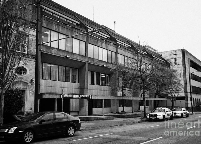 Vancouver Greeting Card featuring the photograph Vancouver Police Department Station 236 Cordova Street Bc Canada by Joe Fox