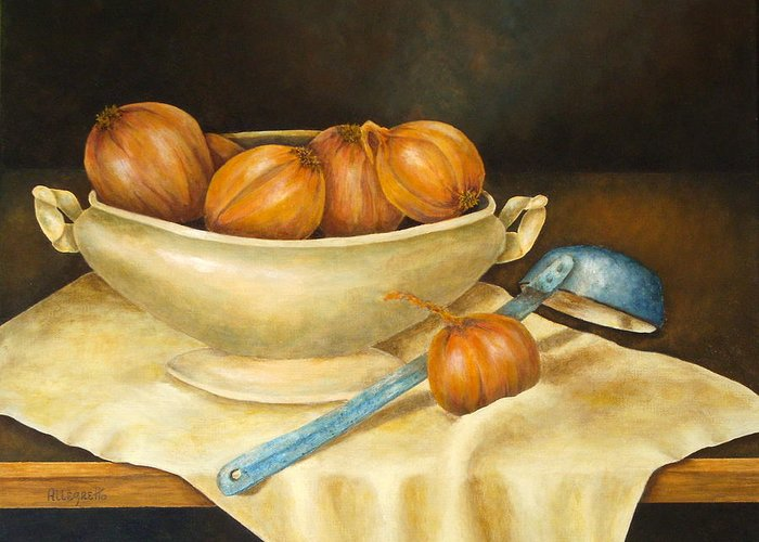 Allegretto Art Greeting Card featuring the painting Venetian Table by Pamela Allegretto