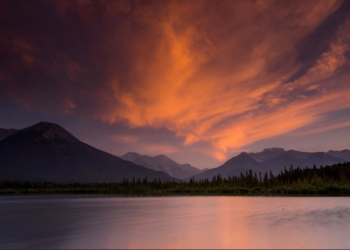 Sunset Greeting Card featuring the photograph Vermillion Lakes Sunset by Cale Best