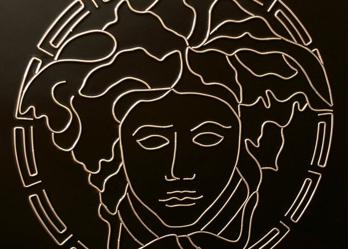 Versace Greeting Card featuring the mixed media Versace Medusa Head by Peter Virgancz
