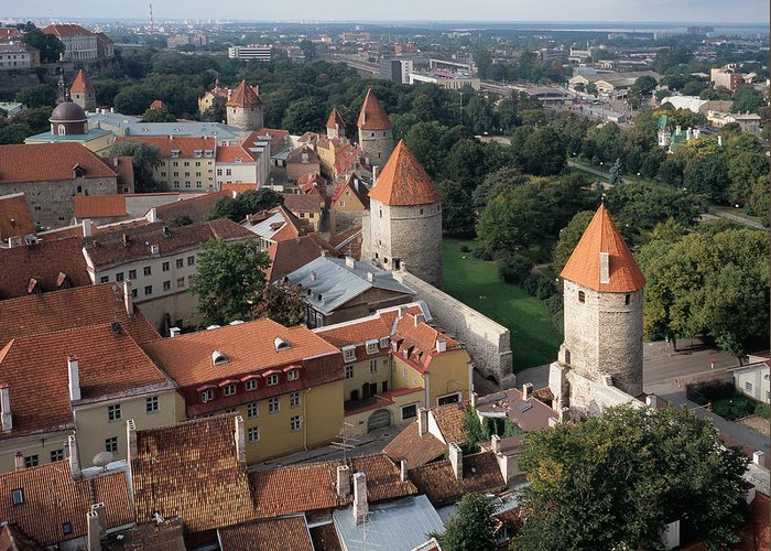 Tallinn Greeting Card featuring the photograph View From Above Of Old Town Tallinn Estonia by Cliff Wassmann