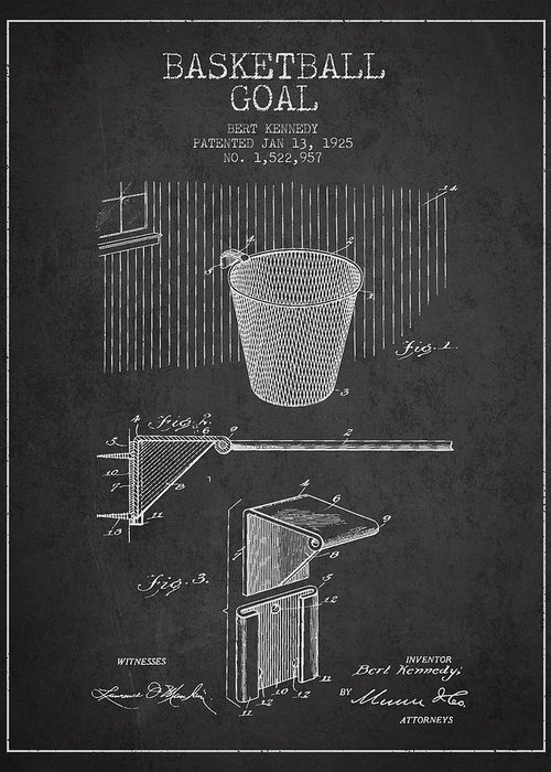 Hoop Patent Greeting Card featuring the drawing Vintage Basketball Goal Patent From 1925 by Aged Pixel